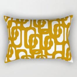Midcentury Modern Loop Pattern in Dark Honey Mustard Gold and White Rectangular Pillow
