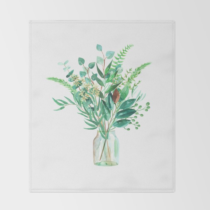 greenery in the jar Throw Blanket