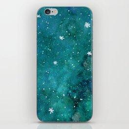 Watercolor galaxy - teal iPhone Skin