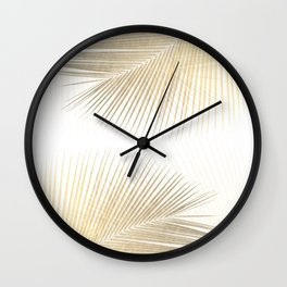 Palm leaf synchronicity - gold Wall Clock