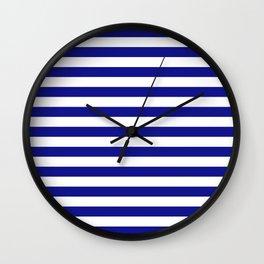 navy stripes Wall Clock