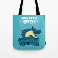 monster hunter Tote Bags featuring Monster Hunter All Stars - Moga Sea Dogs by Bleached ink