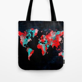 world map 82 red blue Tote Bag