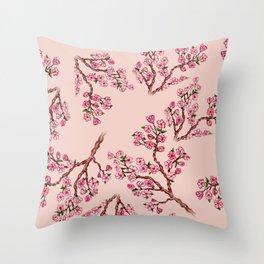 Sakura Branch Painting Throw Pillow