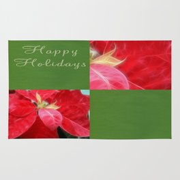 Mottled Red Poinsettia 2 Happy Holidays Q5F1 Rug
