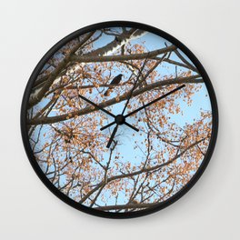 Rowan tree branches with berries and bird Wall Clock