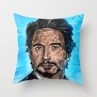 robert downey jr Throw Pillows featuring RD JR by Balazs Pakozdi
