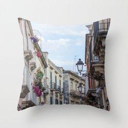 Street in Syracuse, Sicily Throw Pillow