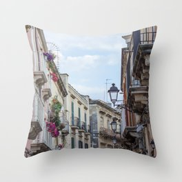Street in Syracuse, Sicily Throw Pillow