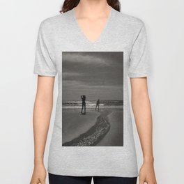 Beach black white light Unisex V-Neck