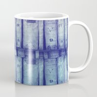 library Mugs featuring Vintage library by Maureen Mitchell