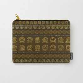 Maya Calendar Glyphs pattern Gold on Brown Carry-All Pouch