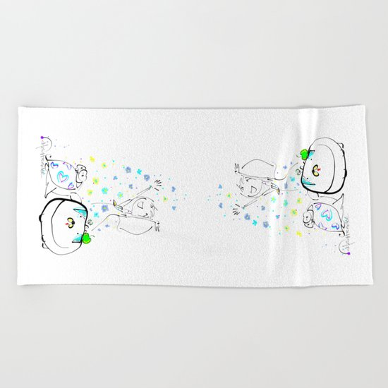 raining flowers Beach Towel