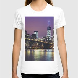 Manhattan Skyline over the Brooklyn Bridge at Night T-shirt