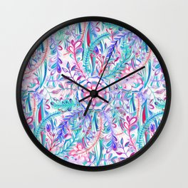 Boho Flower Burst in Pink and Teal Wall Clock