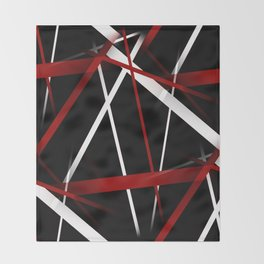 Seamless Red and White Stripes on A Black Background Throw Blanket