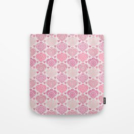 Pink Heart Valentine's Doilies Pattern Tote Bag