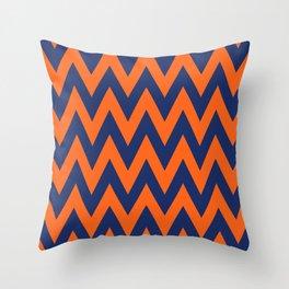 Team Spirit Chevron Blue and Orange Throw Pillow