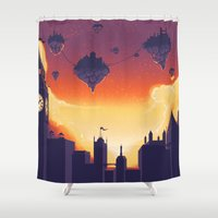 cities Shower Curtains featuring Cities in the Sky by Souzou Inc