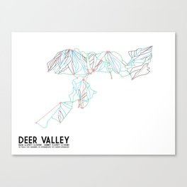 Deer Valley, UT - Minimalist Trail Art Canvas Print