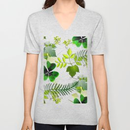 Four-Leaf Clover in Greneery Foliage Pattern Unisex V-Neck