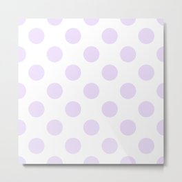 Geometric Orbital Circles In Pale Delicate Summer Fresh Lilac Dots on White Metal Print