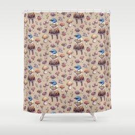 Mushroom Pickers - Lady Blue Shower Curtain