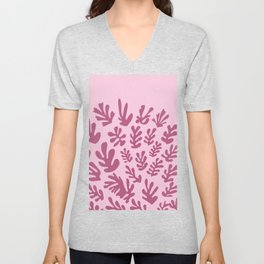Matisse cutouts abstract drawing,matisse pink leaf Unisex V-Neck
