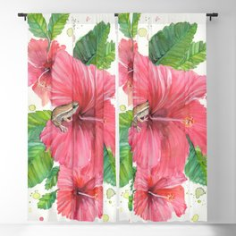 Coqui Frog & Hibiscus Flower Blackout Curtain