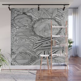 Black and White Geometric Illusion Wall Mural