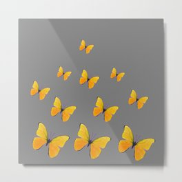 YELLOW BUTTERFLIES CHARCOAL GREY ART Metal Print