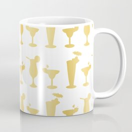 Luxury Gold Foil Frosty Cocktail Glasses Seamless Pattern Background Coffee Mug