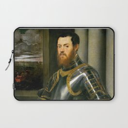 """Tintoretto (Jacopo Robusti) """"Young man in a gold-decorated suit of armour"""" Laptop Sleeve"""
