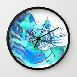 Cuddling Tigers - Tropical Turquoise Wall Clock