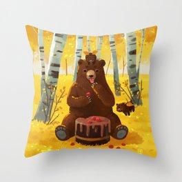 Chocolate cake and the bears Throw Pillow