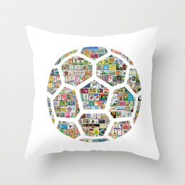Philately Soccer Ball Throw Pillow