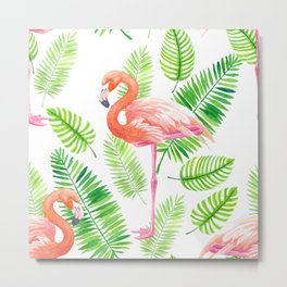 Flamingos and tropical leaves  Metal Print