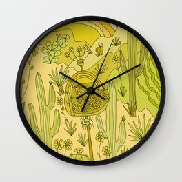 road side attractions // look now // nature in the desert vibes // retro art by surfy birdy Wall Clock