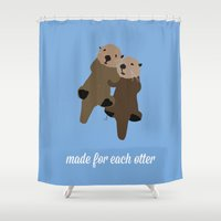 otters Shower Curtains featuring Made For Each Otter by Carrie Ambo