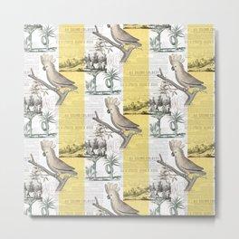 Vintage Tropical Cockatoo Pattern Metal Print