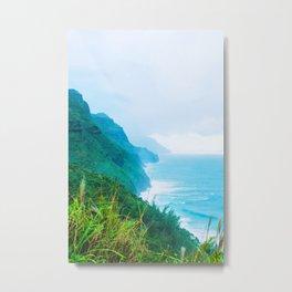 green mountain and ocean view at Kauai, Hawaii, USA Metal Print
