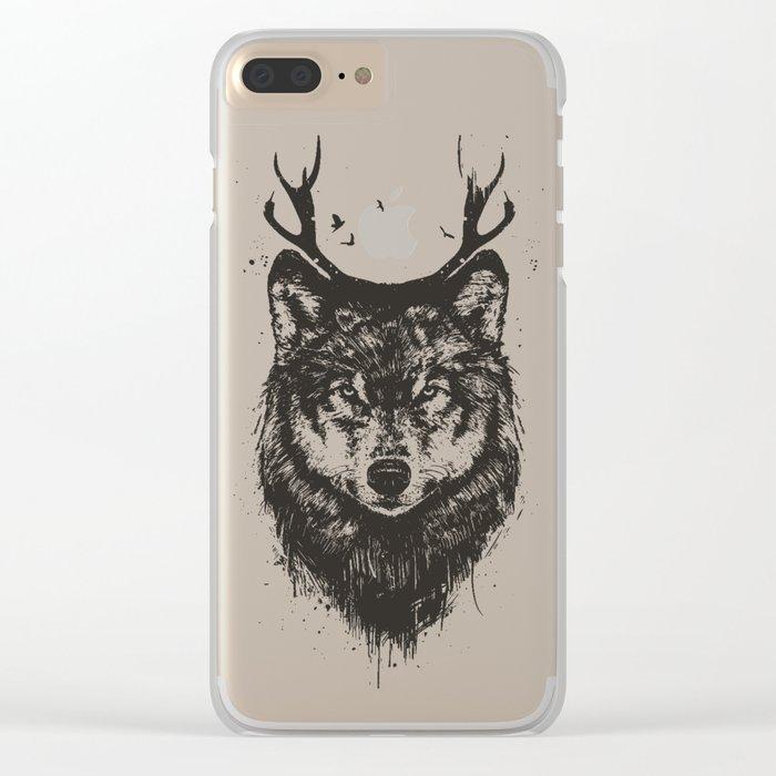 Deer wolf (b&w) Clear iPhone Case