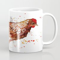 chicken Mugs featuring Chicken by libby's art studio