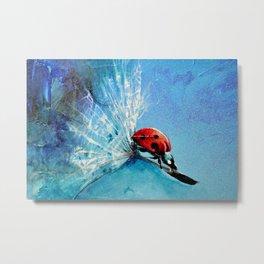 Flirt - Ladybug On Dandelion Metal Print