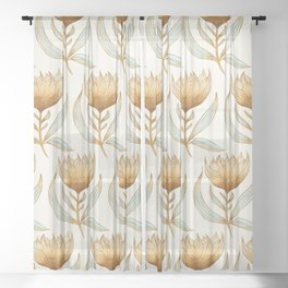 Bohemian Sunflower Pattern Sheer Curtain