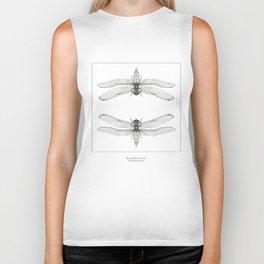Hand Drawn Dragonfly Print Biker Tank