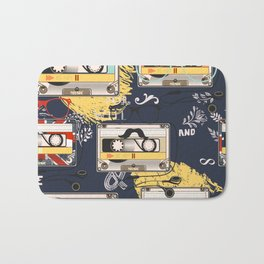 Fashion hipster pattern with cassette on shabby background Bath Mat