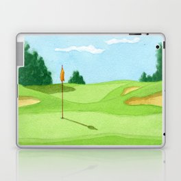 Golf Course Putting Green Watercolor Painting Laptop & iPad Skin