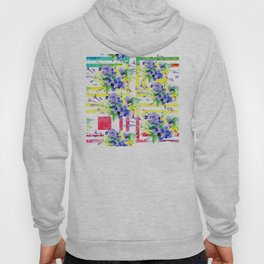 Purple Floral Pattern With Colorful Square Designs Hoody