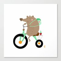 cycling Canvas Prints featuring cycling by Sucoco